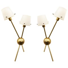 Pair of Stilnovo Wall Lights with Glass Shades