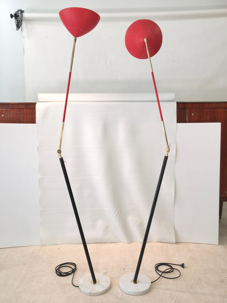 Mid-Century Modern Pair of Stilux Articulating Floor Lamps For Sale