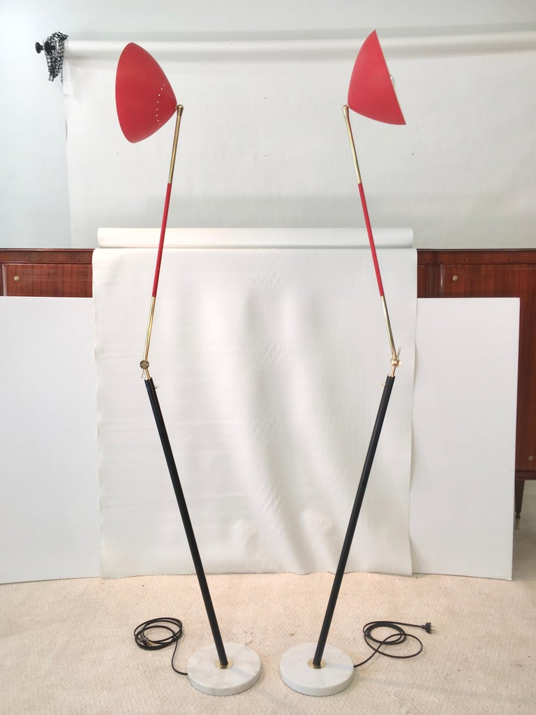 Pair of Stilux Articulating Floor Lamps In Good Condition For Sale In Hingham, MA