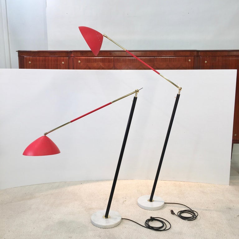 Italian Pair of Stilux Articulating Floor Lamps For Sale