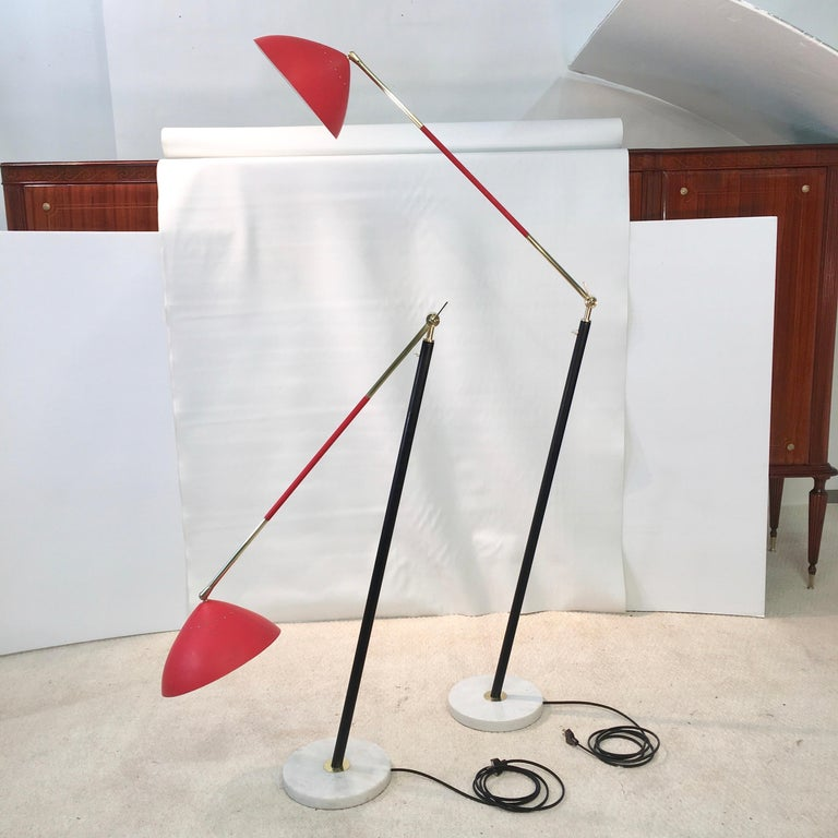 Mid-20th Century Pair of Stilux Articulating Floor Lamps For Sale