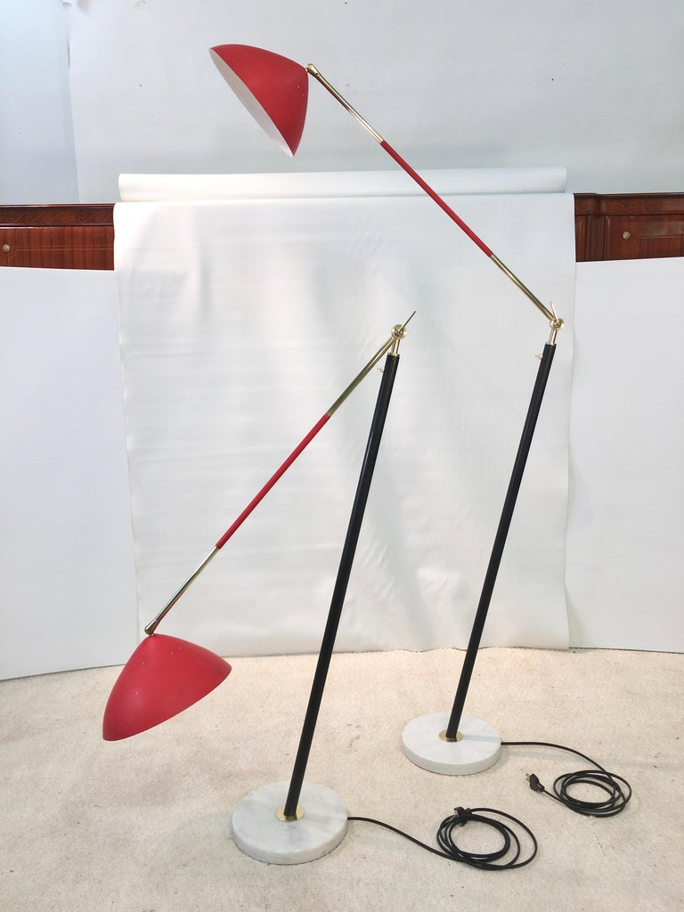Aluminum Pair of Stilux Articulating Floor Lamps For Sale