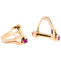 Pair of Stirrup Shaped 18 Karat Gold and Ruby Cufflinks French, circa 1950