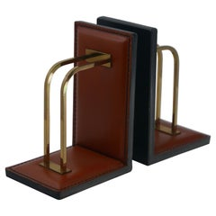 Pair of Stitched Leather and Brass Bookends by ILG Belgium