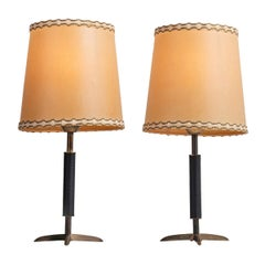 Pair of Stitched Leather and Brass Table Lamps