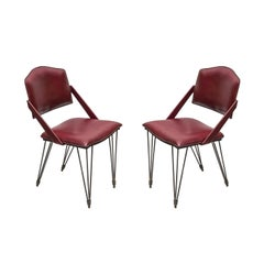 Pair of Stitched Leather Armchairs by Jacques Adnet