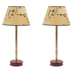 Pair of Stitched Leather Lamps by Jacques Adnet