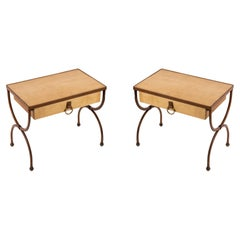 Pair of Stitched Leather Side Tables by Jacques Adnet