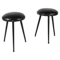 Pair of Stitched Leather Stools by Jacques Adnet