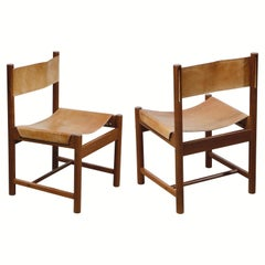 Pair of Stitched Saddle Leather Side Chairs by Michel Arnoult, Brazil, 1960s