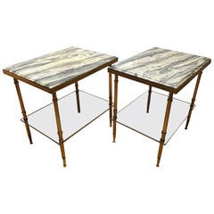 Pair of Stone and Brass Side Tables