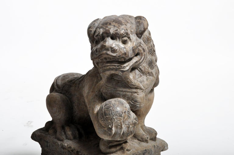 Pair of Stone Carved Fu Dog Pedestal For Sale 10