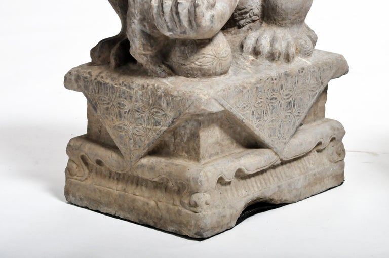 Pair of Stone Carved Fu Dog Pedestal For Sale 13