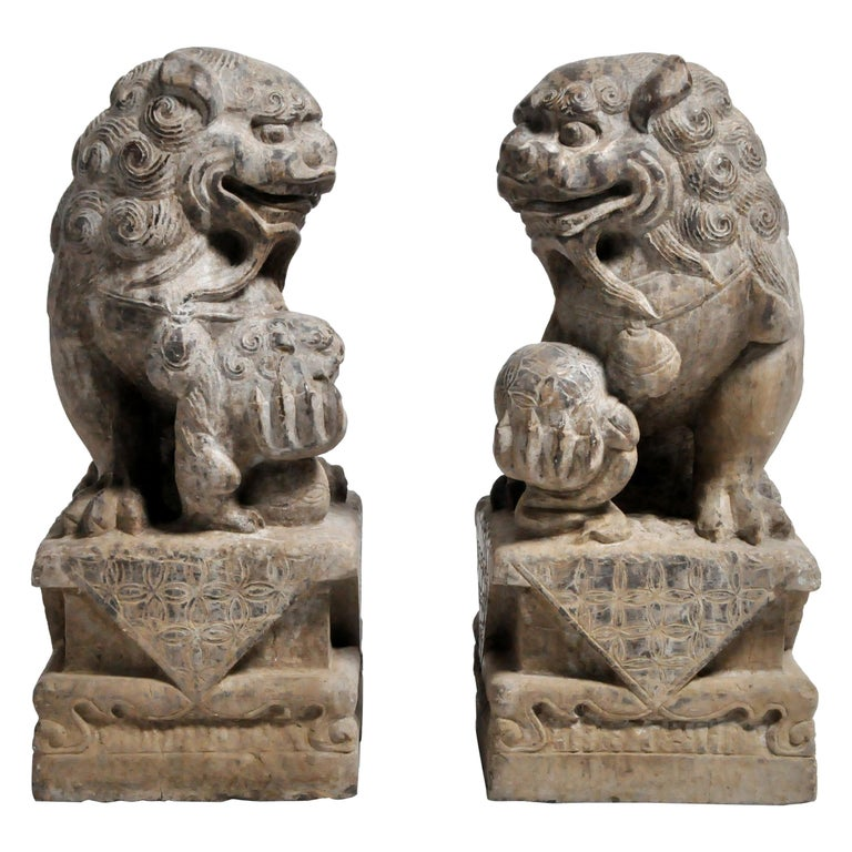 Pair of Stone Carved Fu Dog Pedestal For Sale