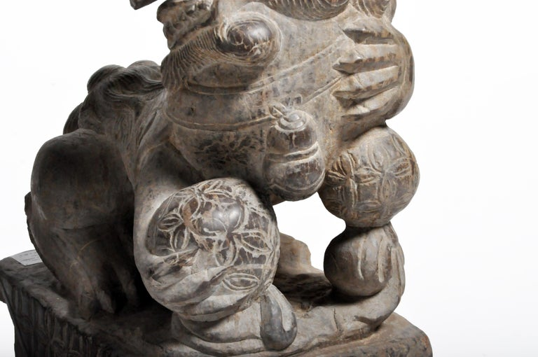 Pair of Stone Carved Fu Dogs on Pedestal For Sale 7