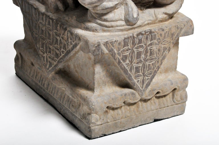 Pair of Stone Carved Fu Dogs on Pedestal For Sale 9