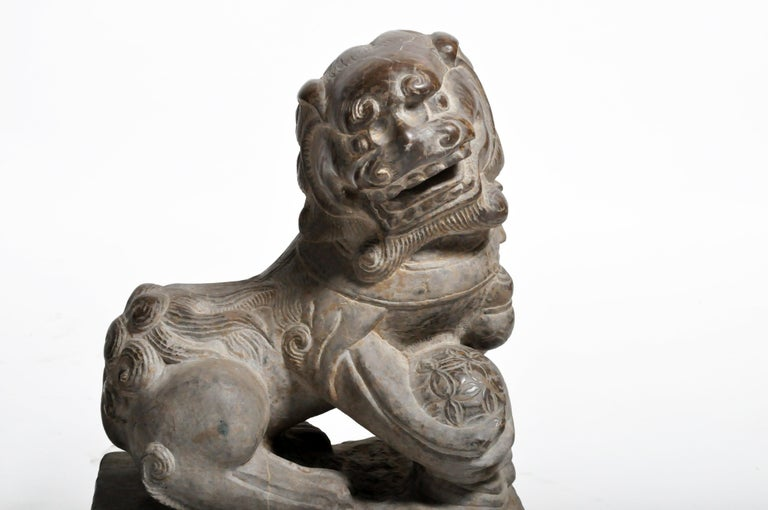 Pair of Stone Carved Fu Dogs on Pedestal For Sale 12