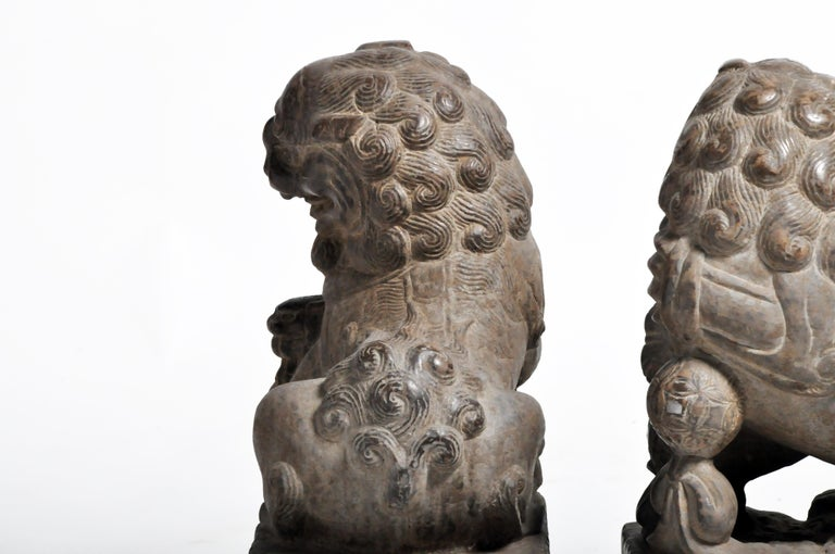 Pair of Stone Carved Fu Dogs on Pedestal For Sale 16