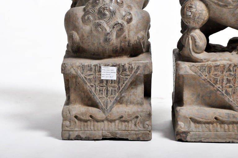 Pair of Stone Carved Fu Dogs on Pedestal For Sale 17