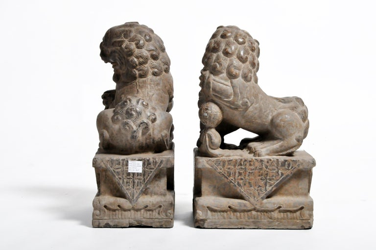 Pair of Stone Carved Fu Dogs on Pedestal In Good Condition For Sale In Chicago, IL