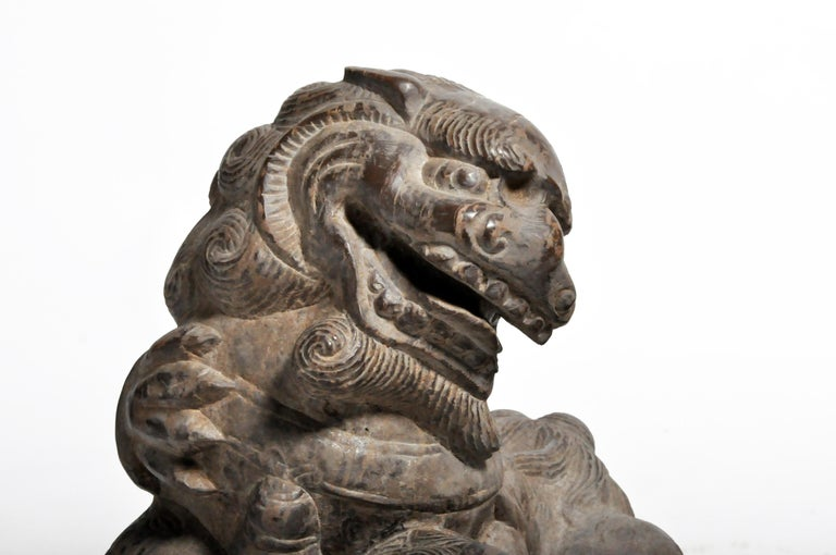 Pair of Stone Carved Fu Dogs on Pedestal For Sale 2