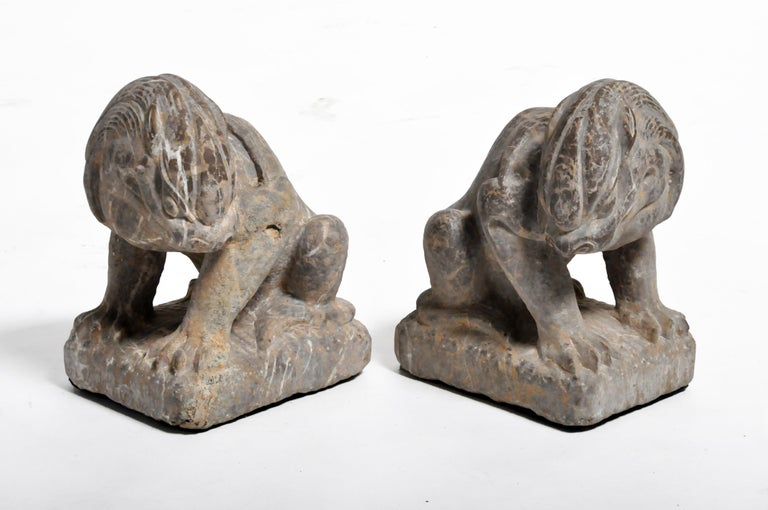 Pair of Stone Carved Lions on Pedestal For Sale 2