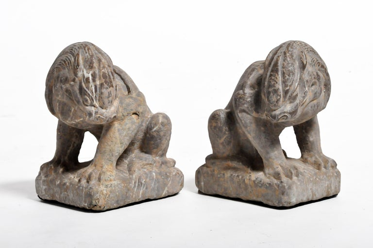 Pair of Stone Carved Lions on Pedestal For Sale 3
