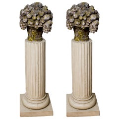Pair of Stone Carvings on Columns