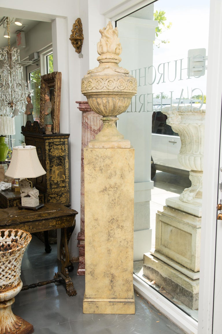 Pair of Stone Cast English Urns on Faux Marble Pedestals For Sale 3