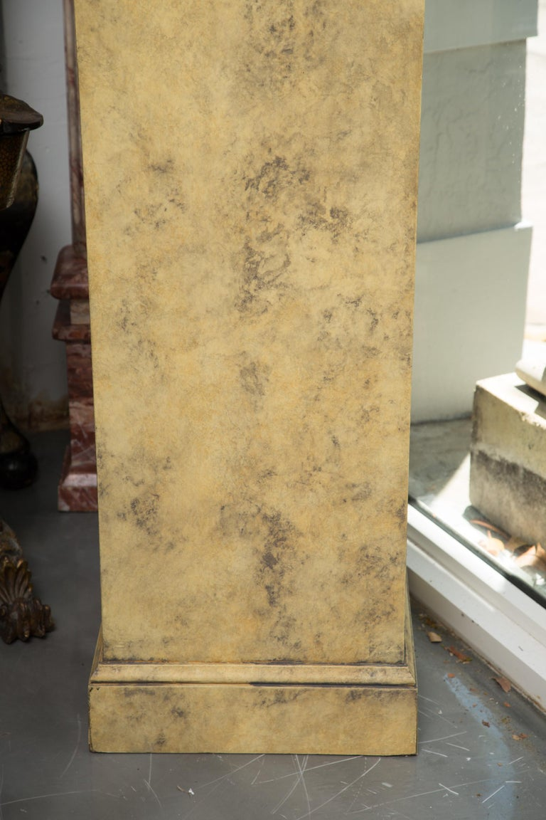 Wood Pair of Stone Cast English Urns on Faux Marble Pedestals For Sale
