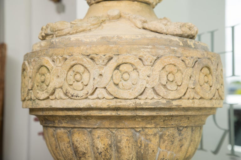 Pair of Stone Cast English Urns on Faux Marble Pedestals For Sale 1