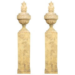 Pair of Stone Cast English Urns on Faux Marble Pedestals
