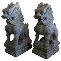 Pair of Stone Foo Dogs or Temple Lions Sculptures