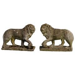 Pair of Stone Garden Lions, circa 1930