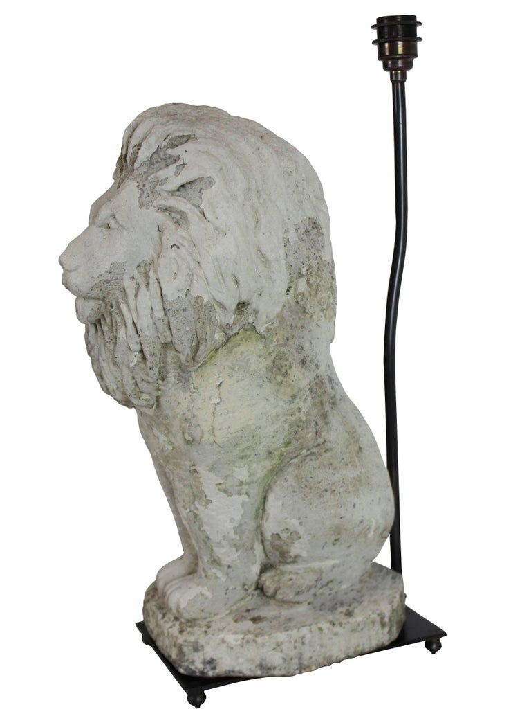 Pair of Stone Lion Lamps In Good Condition In London, GB