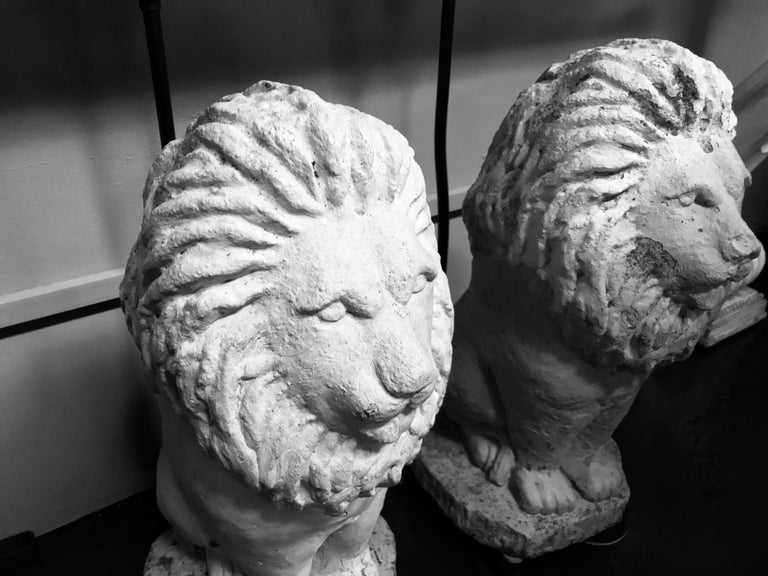 Early 20th Century Pair of Stone Lion Lamps For Sale