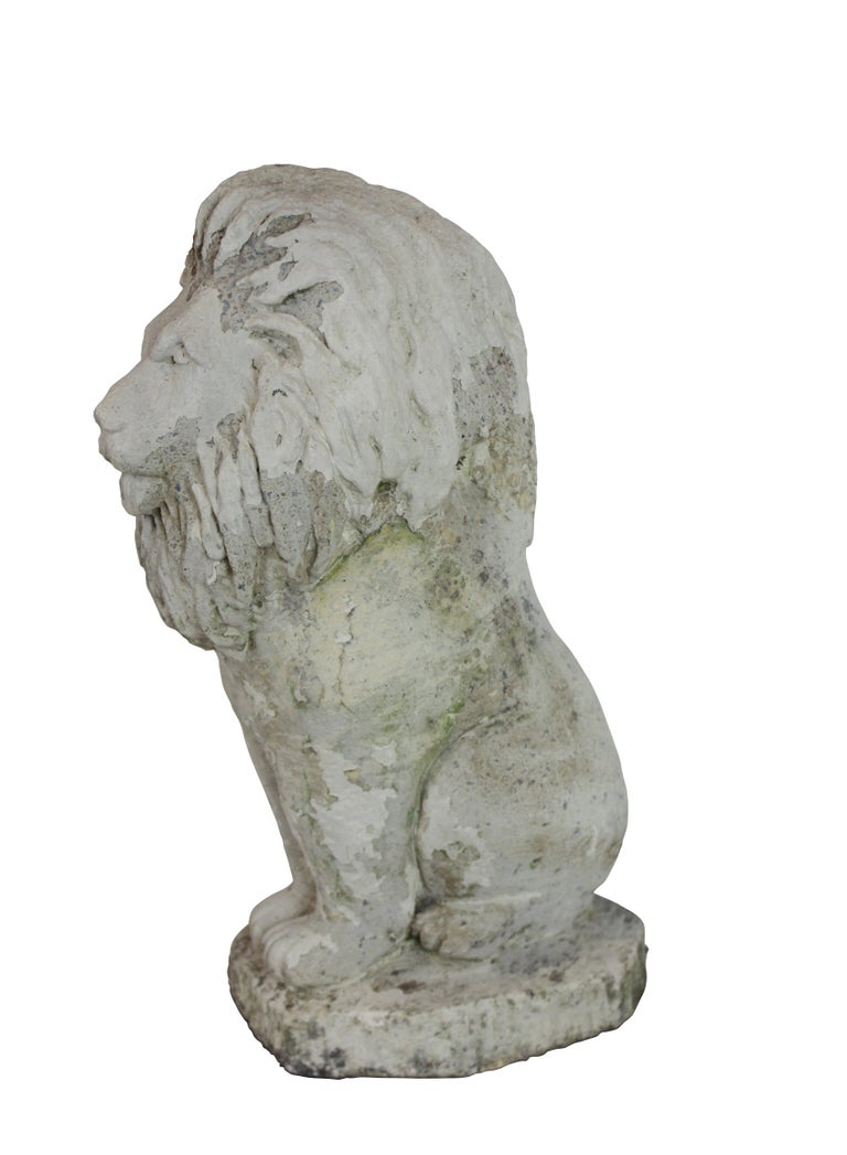 Early 20th Century Pair of Stone Lion Lamps
