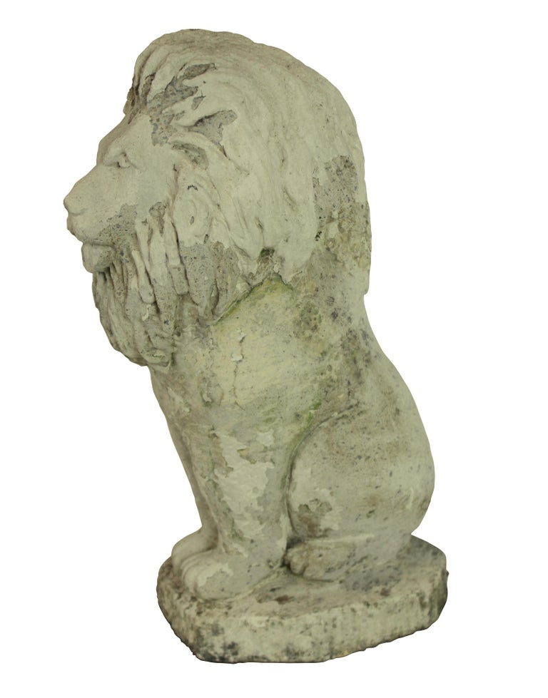 Stoneware Pair of Stone Lion Lamps For Sale