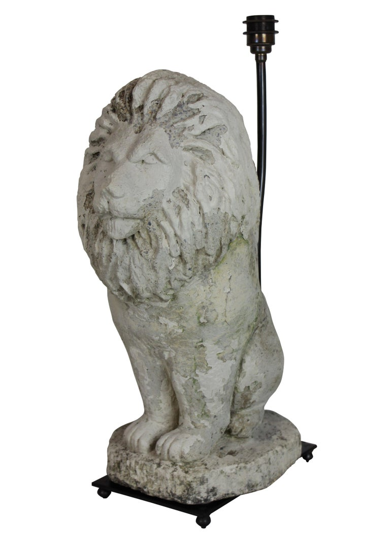 Pair of Stone Lion Lamps 2