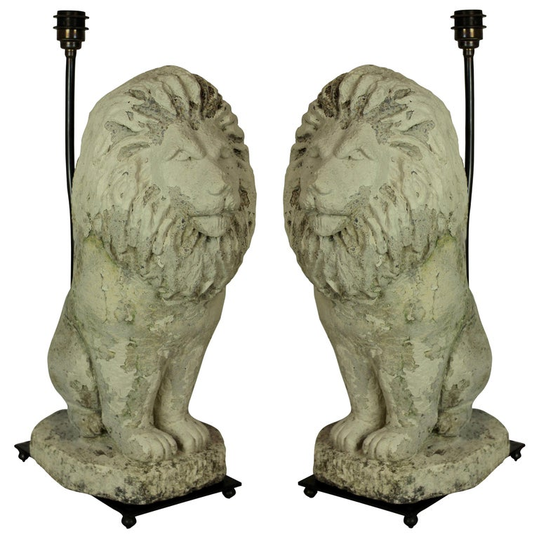 Pair of Stone Lion Lamps For Sale