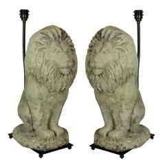Pair of Stone Lion Lamps
