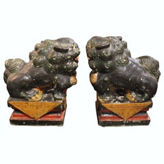 Pair of Stone Painted Chinese Foo Dog Book Ends