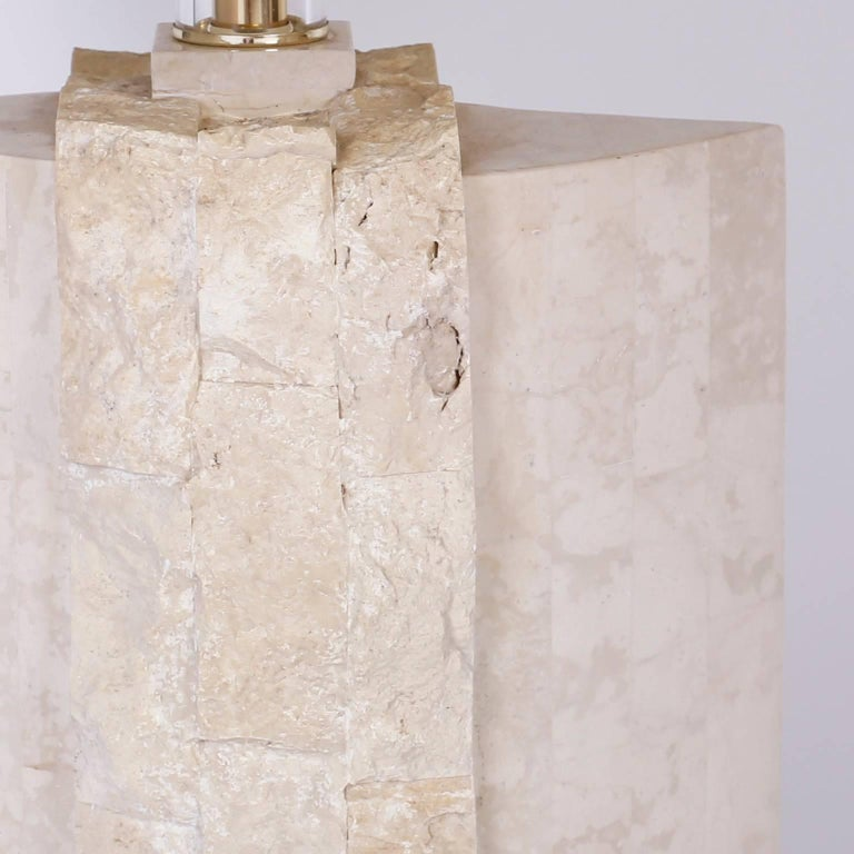Mid-Century Modern Pair of Stone Table Lamps For Sale