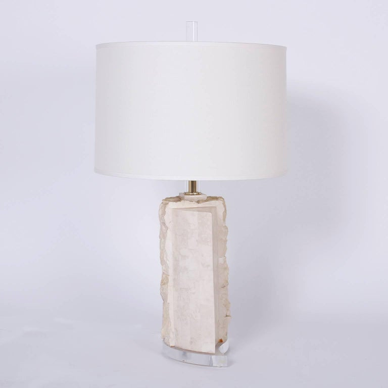 Philippine Pair of Stone Table Lamps For Sale