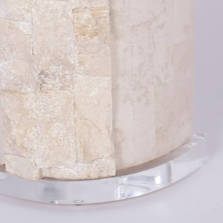 Pair of Stone Table Lamps In Good Condition For Sale In Palm Beach, FL