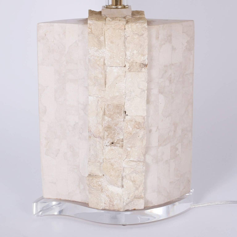 20th Century Pair of Stone Table Lamps For Sale