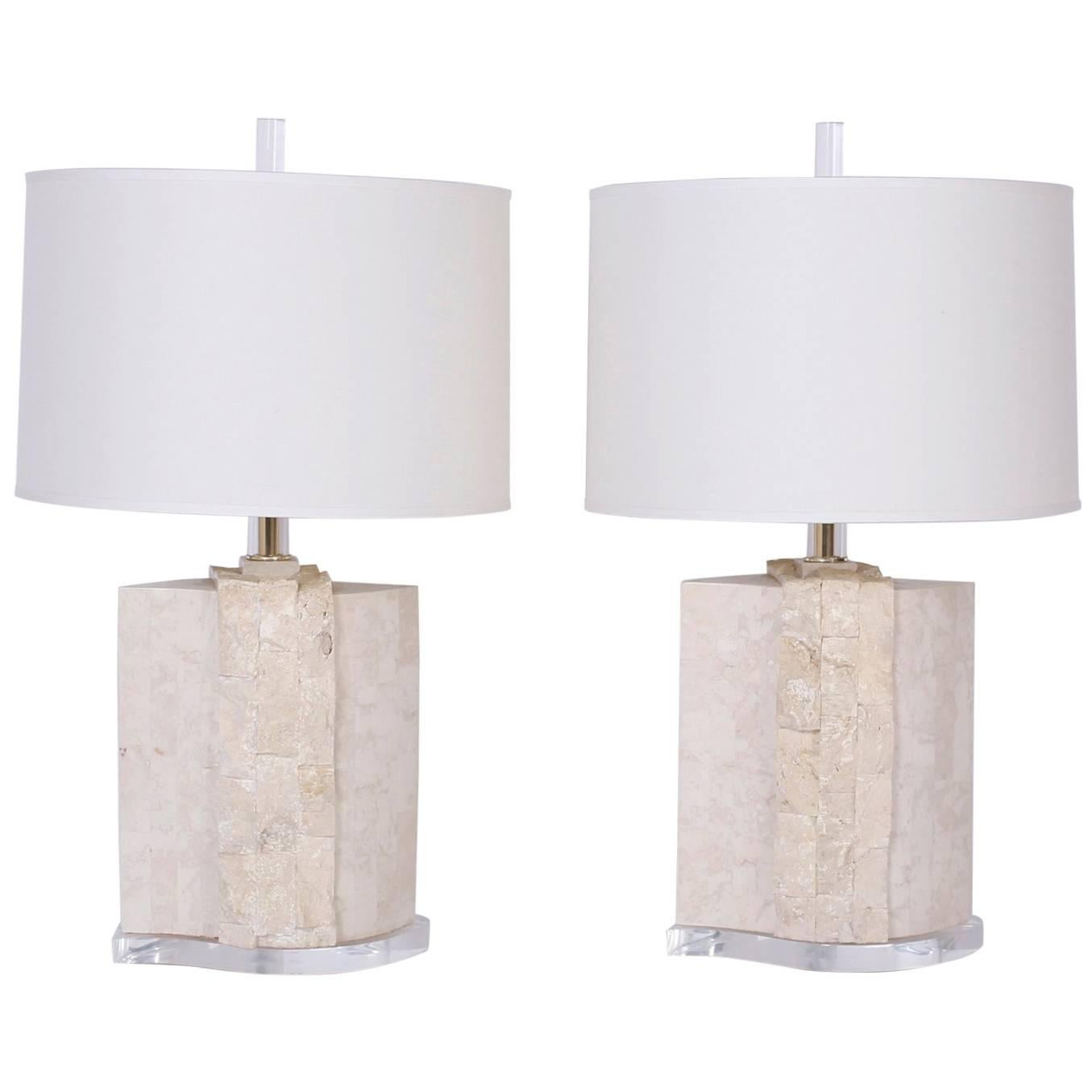 Pair of Stone Table Lamps