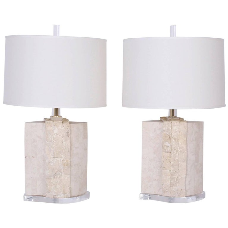 Pair of Stone Table Lamps For Sale