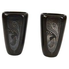 Pair of Stoneware Vases Peacock Decor by Gustavsberg, Sweden, 1950s