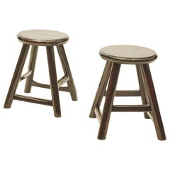 Pair of Stools, Black Lacquer with Beautiful Patina
